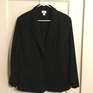 Women's blazer; single-breasted, black 1X